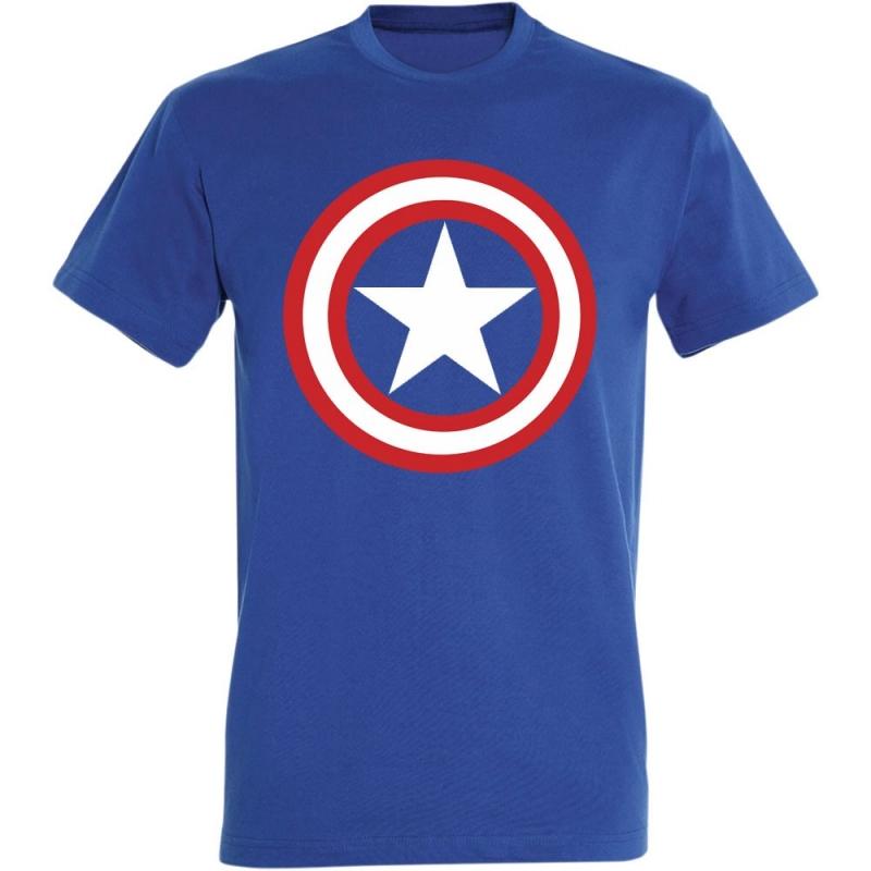 Déguishirt Super-Héros : Déguisement T-shirt bleu de Captain America