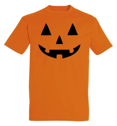 Déguishirt Halloween : T-shirt Déguisement orange de Citrouille d'Halloween souriante