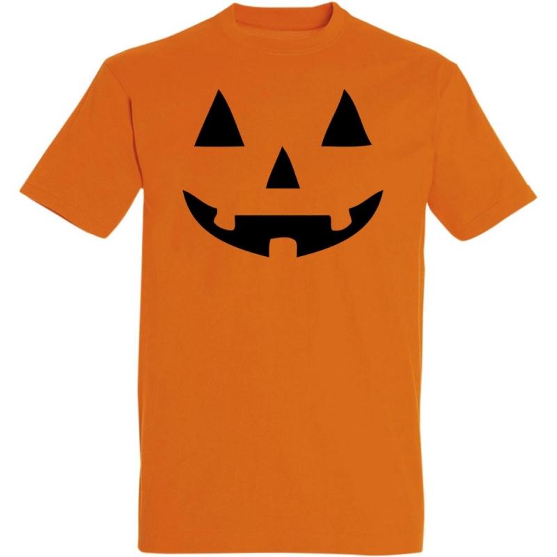 Déguishirt Halloween : T-shirt Déguisement orange de Citrouille d'Halloween souriante