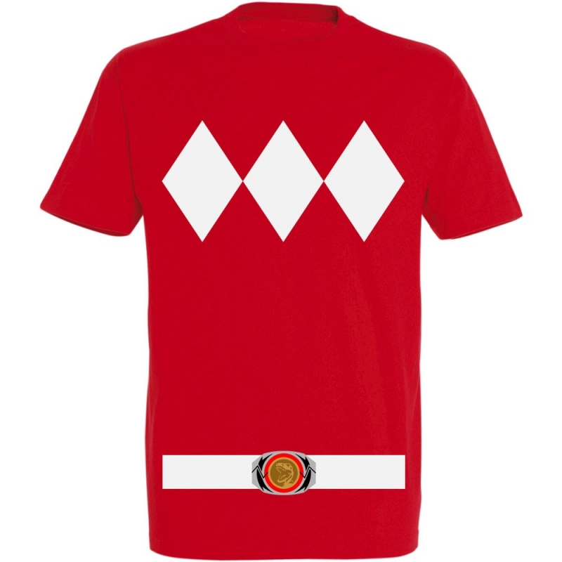 Déguishirt Power Ranger rouge : Déguisement T-shirt Power Ranger rouge