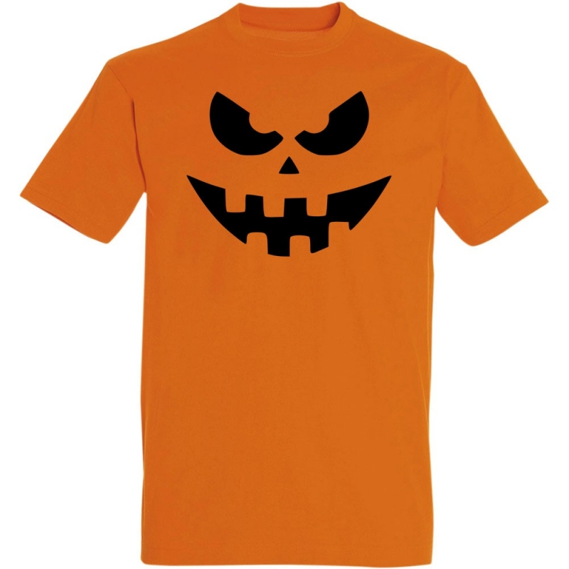 Déguishirt Halloween : T-shirt Déguisement orange de Citrouille d'Halloween effrayante