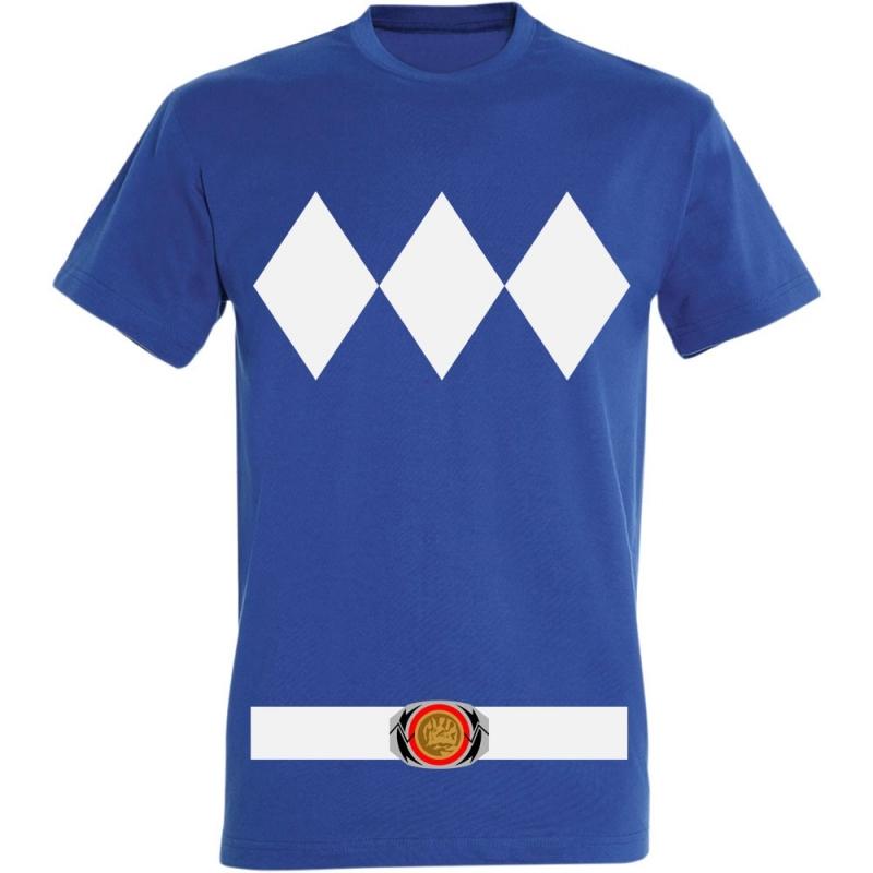 Déguishirt Power Ranger bleu : Déguisement T-shirt Power Ranger bleu