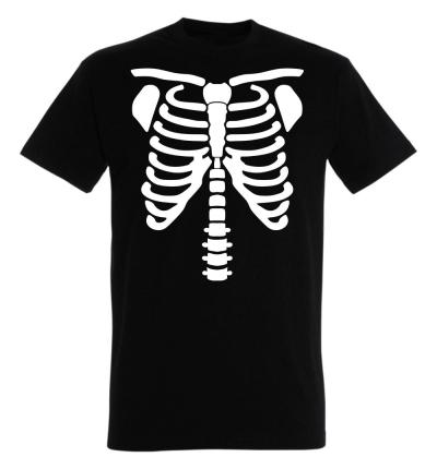 Déguishirt Halloween : T-shirt Déguisement de squelette humain blanc