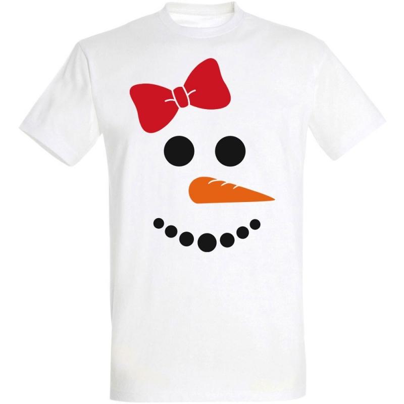 Déguishirt Hiver : T-shirt Déguisement de bonhomme de neige fille avec un nœud papillon