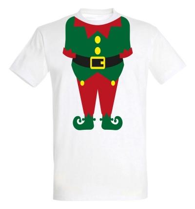 Déguishirt Noël : T-shirt Déguisement vert de corps de Lutin du Père Noël