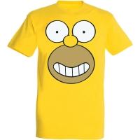 Déguishirt Les Simpson : T-shirt Déguisement jaune du visage d'Homer Simpson de face