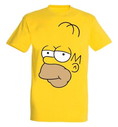 Déguishirt Les Simpson : T-shirt Déguisement jaune du visage d'Homer Simpson de profil
