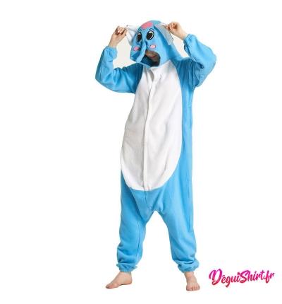 Déguisement kigurumi d'éléphant bleu
