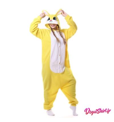 Déguisement kigurumi de lapin jaune