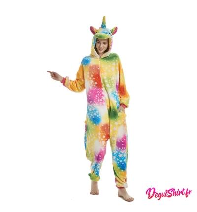 Déguisement kigurumi de licorne arc-en-ciel multicolore
