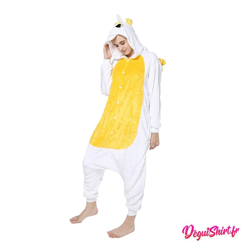 Déguisement kigurumi de licorne blanche et jaune