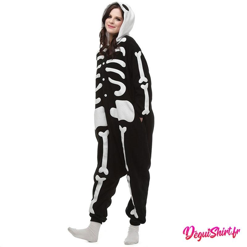 Déguisement kigurumi Squelette blanc