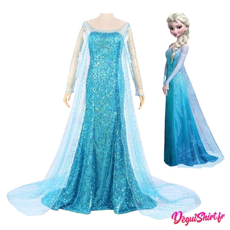 Costume robe réaliste d'Elsa la Reine des Neiges (Disney)
