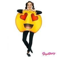 Déguisement emoticone emoji yeux en forme de coeur