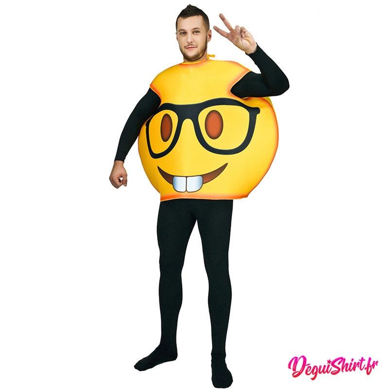 Déguisement emoticone emoji lunettes intello