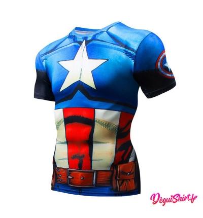 Déguishirt Captain America original (T-shirt déguisement Avengers Marvel)