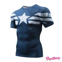Déguishirt Captain America bleu nuit (T-shirt déguisement Avengers 2018/2019 Marvel)