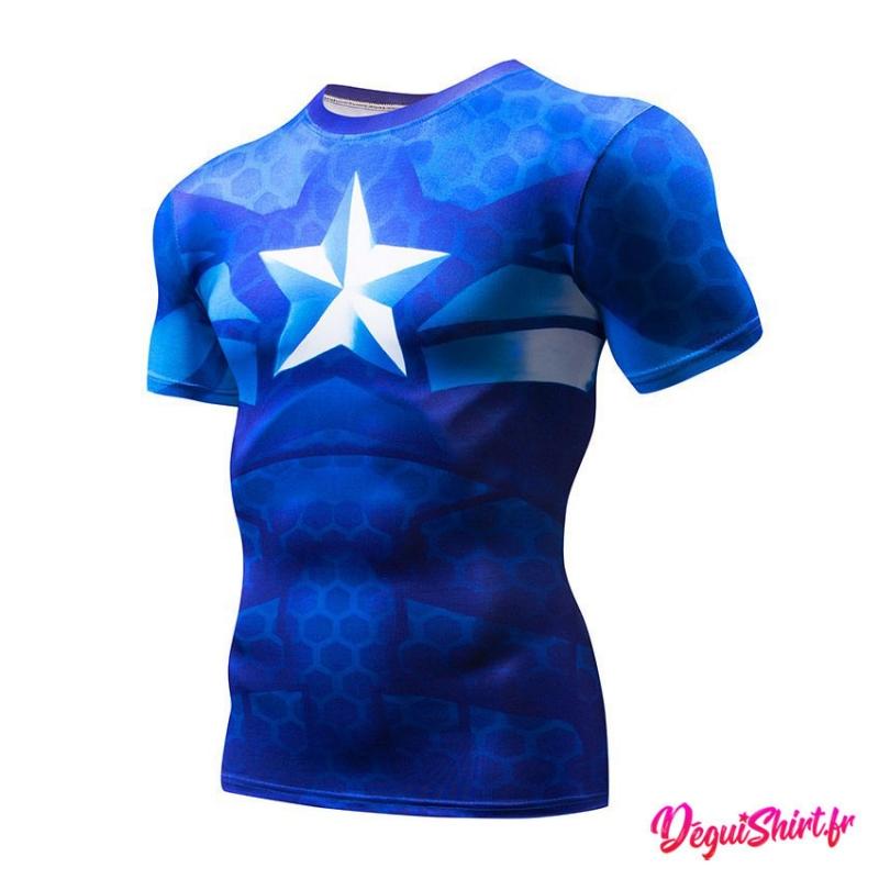 Déguishirt Captain America bleu roi (T-shirt déguisement Avengers Marvel)