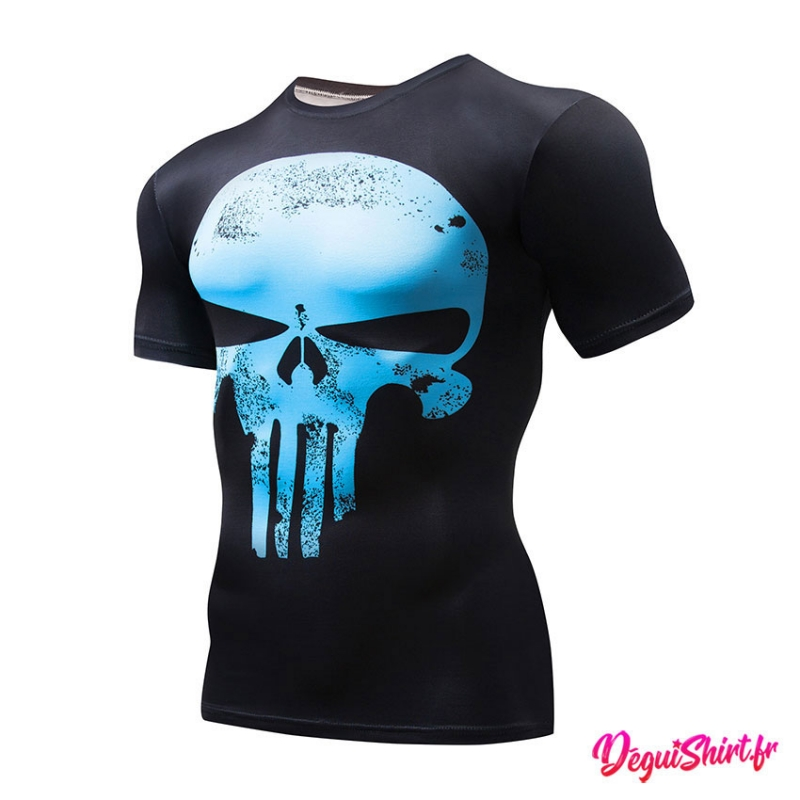 Déguishirt Punisher Skull bleu clair : T-shirt Déguisement Marvel