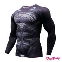 Déguishirt Superman noir : T-shirt Déguisement Justice League DC manches longues