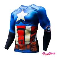 Déguishirt Captain America original : T-shirt Déguisement Marvel manches longues