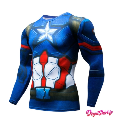 Déguishirt Captain America Avengers : T-shirt Déguisement Marvel manches longues