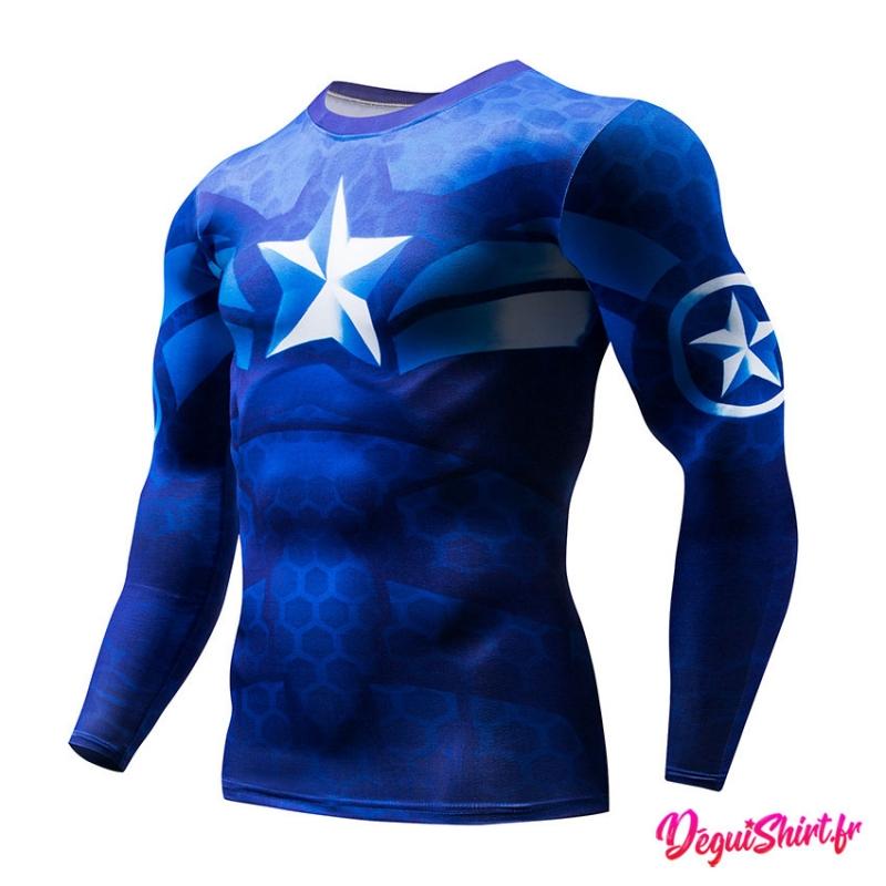 Déguishirt Captain America bleu roi : T-shirt Déguisement Avengers Marvel manches longues