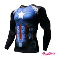 Déguishirt Captain America sombre : T-shirt Déguisement Avengers 2018/2019 Marvel Manches longues