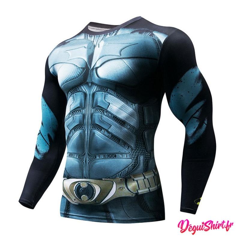 Déguishirt Batman : T-shirt Déguisement Justice League DC (Manches longues)