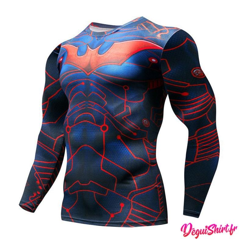 Déguishirt Batman connecté bleu rouge : T-shirt Déguisement DC (Manches longues)