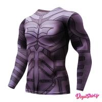 Déguishirt Batman violet : T-shirt Déguisement DC (Manches longues)