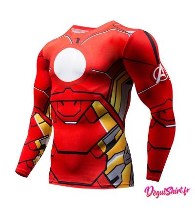 Déguishirt Iron Man Avengers : T-shirt Déguisement Marvel (Manches longues)