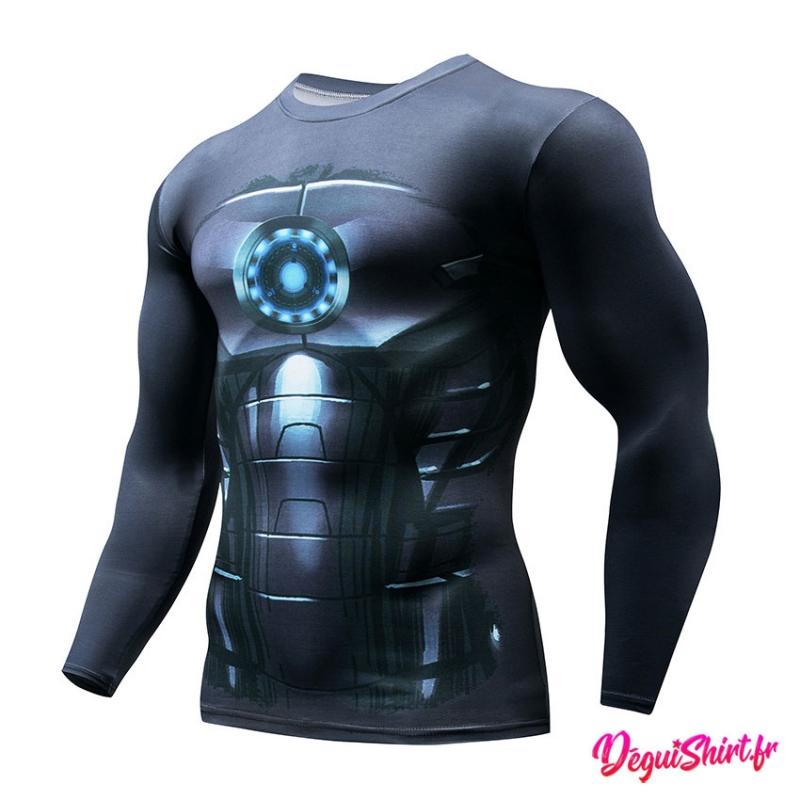 Déguishirt Iron Man noir : T-shirt Déguisement Marvel (manches longues)