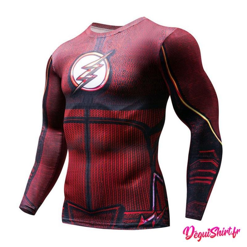 Déguishirt Flash : T-shirt Déguisement Justice League DC manches longues