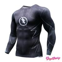Déguishirt Flash noir : T-shirt Déguisement DC Justice League manches longues