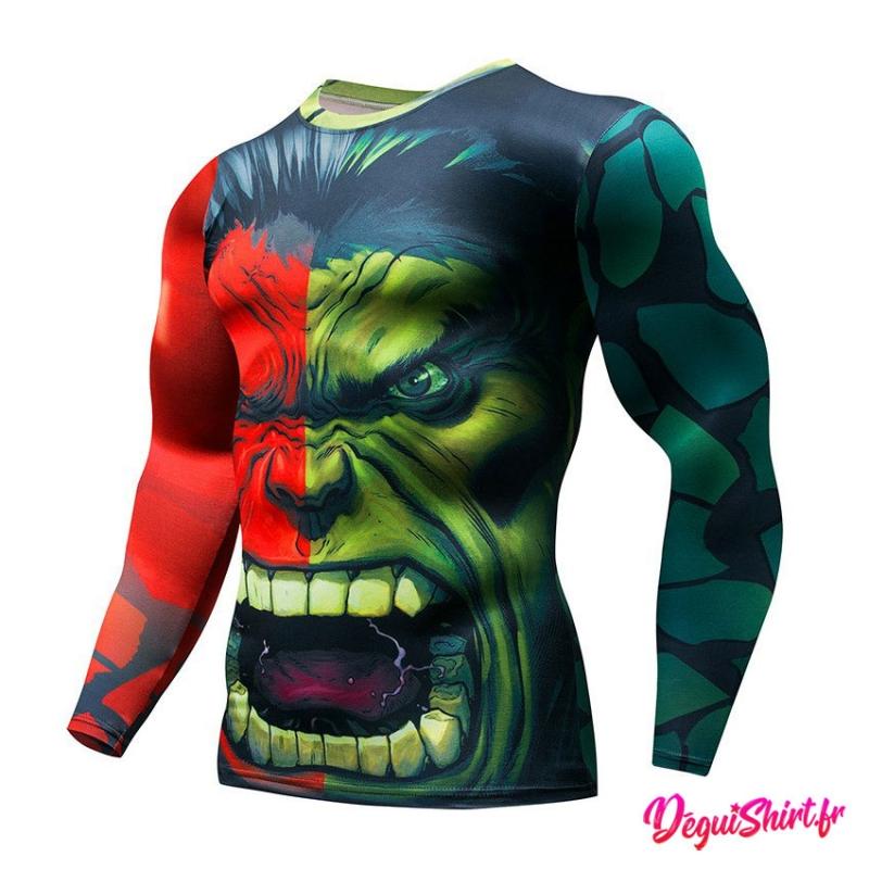 Déguishirt Hulk vert et rouge : T-shirt Déguisement Avengers Marvel (manches longues)