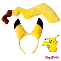 Queue et oreilles déguisement Pikachu