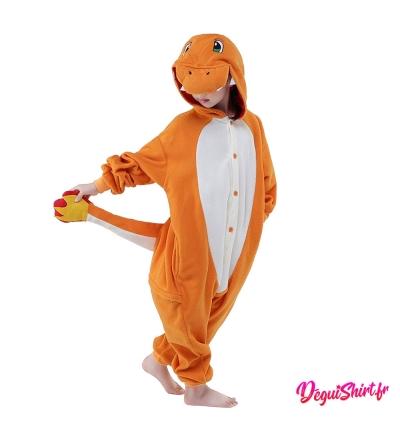 Déguisement Pokémon Salamèche enfant : Pyjama Kigurumi Salamèche garçon fille
