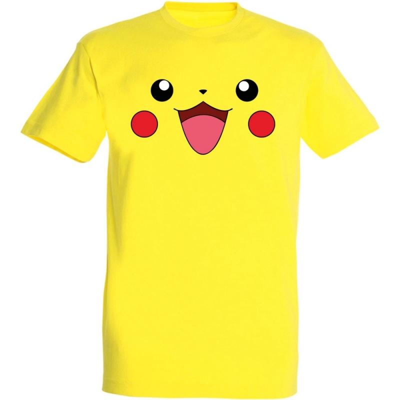 Déguishirt Pokémon Pikachu : T-shirt déguisement jaune visage Pikachu