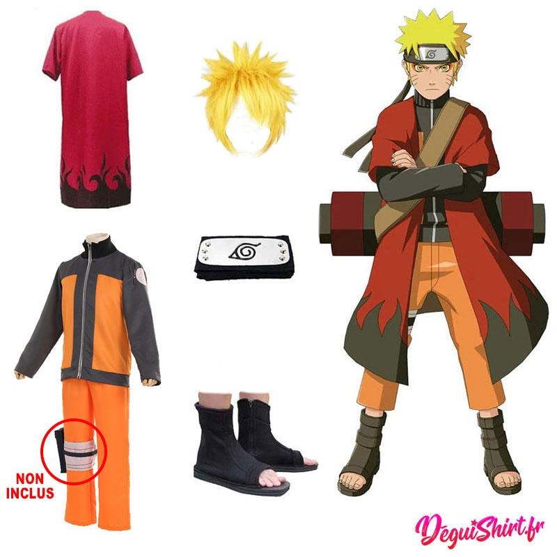 Déguisement Naruto : Costume réaliste et complet Naruto (Tenue, cape, bandeau, perruque, chaussures)